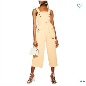 Topshop Pinafore Button Jumpsuit In peach